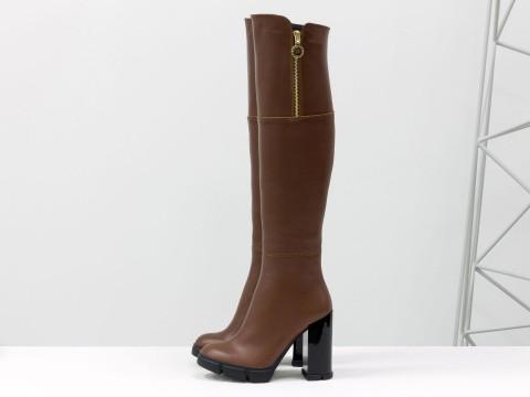 Ботфорты на высоком устойчивом каблуке из натуральной кожи цвета коньяк, М-16073-11