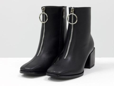 Женские  ботинки из натуральной черной кожи на квадратном каблуке с молнией впереди, Б-2077-01