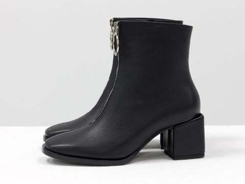 Женские классические ботинки черного цвета из натуральной кожи, Б-2077-01