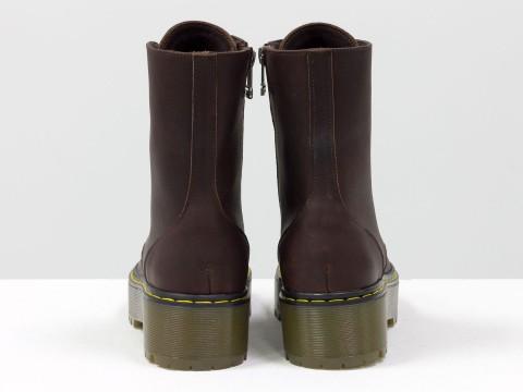 Женские ботинки из натуральной кожи коричневого цвета на шнуровке, Б-2069-01