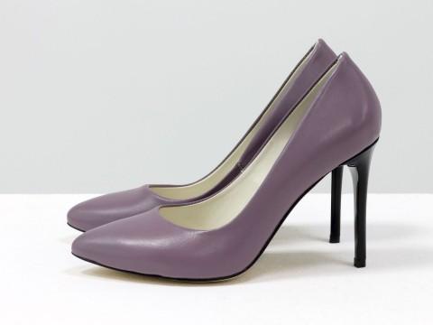 Женские туфли классического кроя из итальянской кожи цвета лаванды на каблуке шпилька, Д-35-04