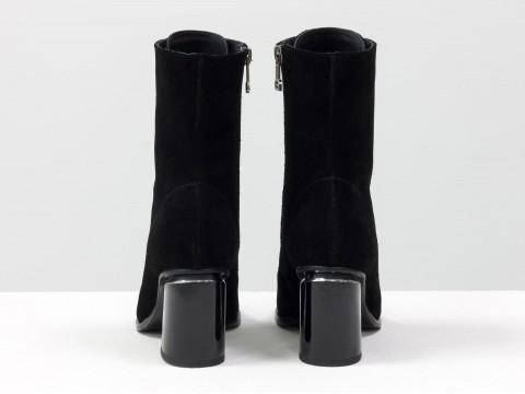 Классические ботильоны на шнуровке из замши черного цвета, Б-19143-02