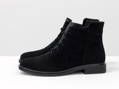 Женские классические ботинки черного цвета из натуральной замши, Б-19142-16