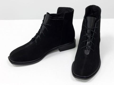 Женские  ботинки из натуральной черной замши на шнуровке, Б-19142-16