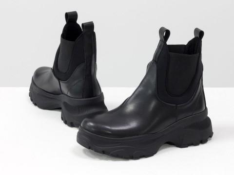 Женские ботинки челси черного цвета из натуральной кожи с широкой черной резинкой, Б-1966-10