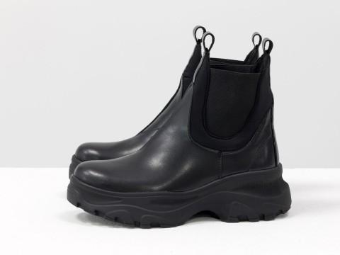 Женские брутальные ботинки челси черного цвета на высокой подошве, Б-1966-10