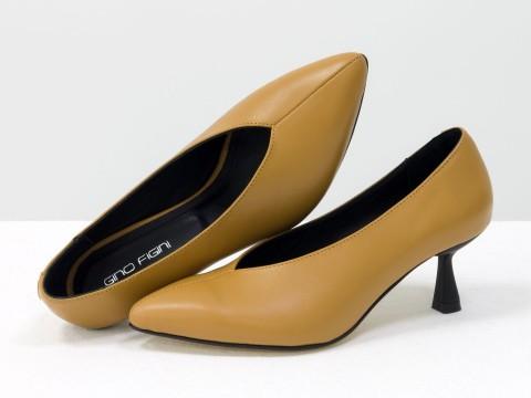 Дизайнерские туфли-перчатки на невысоком  каблуке из натуральной итальянской кожи цвета табак,  Т-2050-13