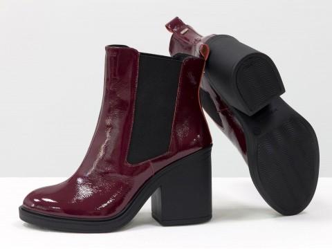 Ботинки свободного одевания бордовые из лаковой кожи
