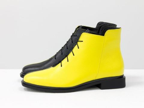 Дизайнерские ботинки из кожи черно-желтого цвета, Б-19142-17