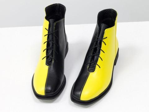 Дизайнерские ботинки из натуральной кожи черно-желтого цвета,  Б-19142-17