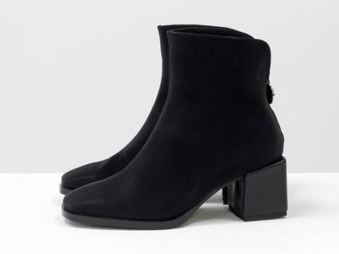 Женские классические ботинки черного цвета из натуральной бархатной кожи сзади с молнией, Б-2076-01