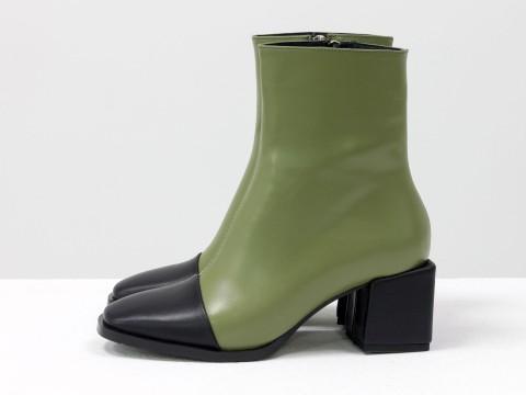 Женские классические ботинки сочетания оливковой и черной натуральной кожи, Б-2086-01