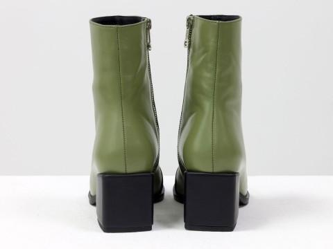Женские  ботинки из натуральной оливковой кожи  с черным носиком на квадратном каблуке, Б-2086-01