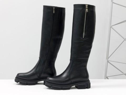 Высокие сапоги ридинги черного цвета из натуральной кожи флотар на утолщенной подошве, М-2094-01