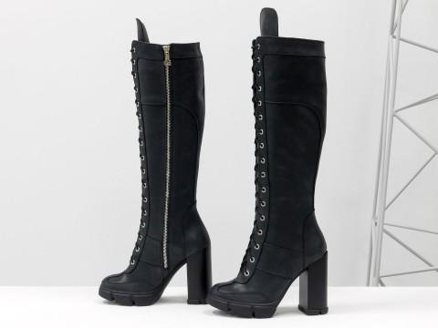 Женские сапоги из натуральной черной матовой кожи на шнуровке по всей длине, М-17342-03