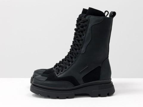 Женские спортивные ботинки из черной кожи на модной тракторной подошве с вставками из замши, Б-1985-13
