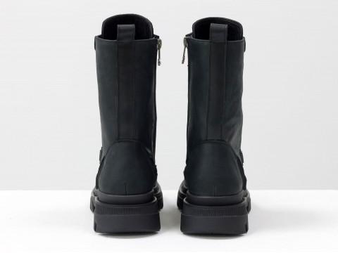 Женские спортивные ботинки из натуральной черной кожи на шнуровке, Б-1985-13