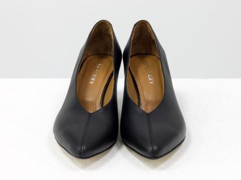 """Дизайнерские туфли-перчатки на невысоком каблуке """"рюмочка"""" из натуральной итальянской кожи черного цвета,  Т-2050-14"""