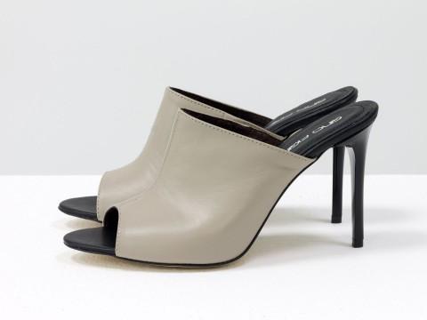 Шлепанцы на каблуке шпильке из кожи бежевого цвета, С-700-04