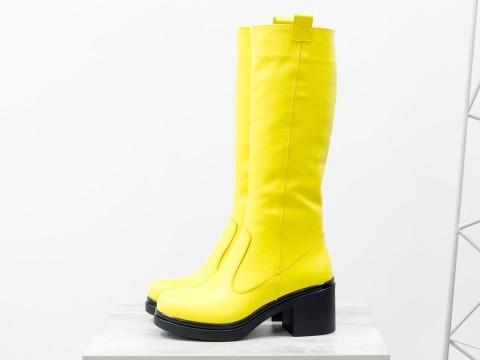 Женские сапоги из натуральной кожи ярко-желтого цвета на удобном каблуке, М-16071/1-05