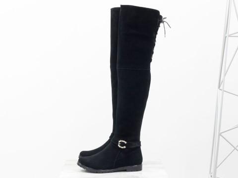Высокие Ботфорты из натуральной замши черного цвета со шнуровкой на низком ходу,  М-17084-03