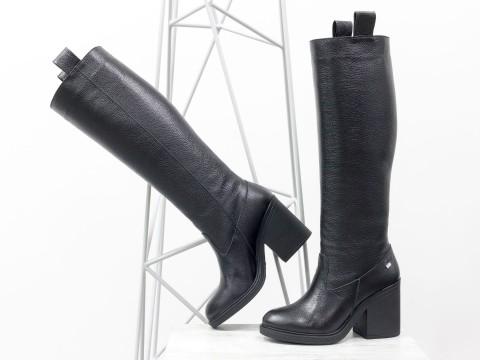 Женские классические сапоги из натуральной черной кожи флотар на каблуке