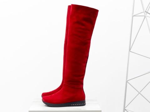 Высокие замшевые сапоги-ботфорты красного цвета, М-1818-03