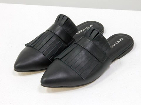Бабуши на низком ходу черного цвета из натуральной кожи, Д-27-01
