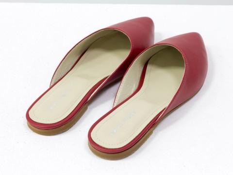 Красные бабуши из натуральной кожи с острым носочком