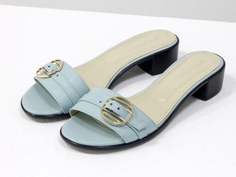 Шлепки-сабо из кожи нежно голубого цвета на маленьком каблуке,С-1803-03