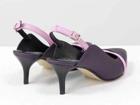 Женские туфли с открытой пяткой из натуральной матовой кожи на шпильке