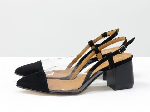 Черные туфли из итальянской замши и вставками из мягкого силикона