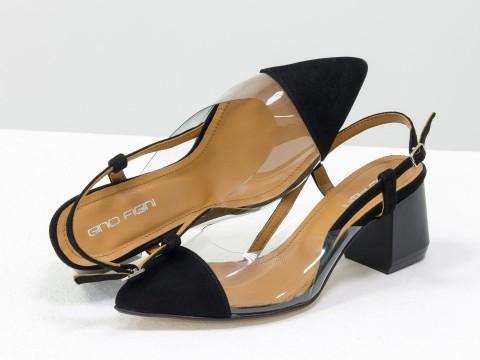 Черные женские туфли из натуральной итальянской замши и вставками из мягкого силикона