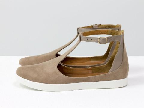 Женские бежевые туфли на низком ходу из натурального замша