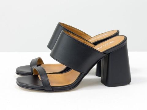 Классические босоножки черного цвета на расклешенном каблуке, С-2016-01