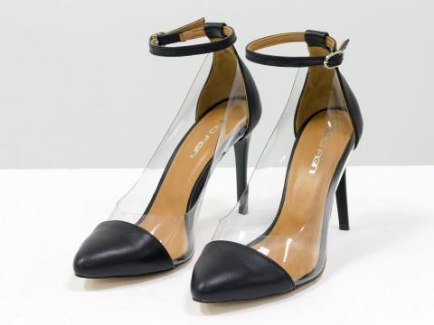 Черные туфли на шпильке из натуральной кожи и вставками из мягкого силикона