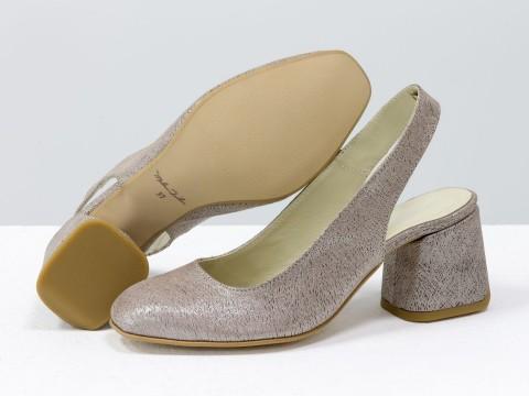 Женские пудровые туфли на расклешенном каблуке из натуральной кожи