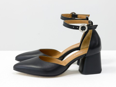 Классические черные туфли из натуральной кожи на расклешенном каблуке, С-2013-01