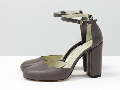 Классические женские туфли из натуральной кожи грязно-сиреневого цвета