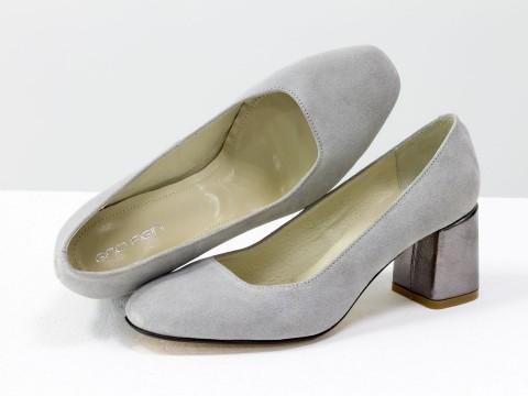 Женские серые туфли на среднем каблуке из натуральной замши-велюр
