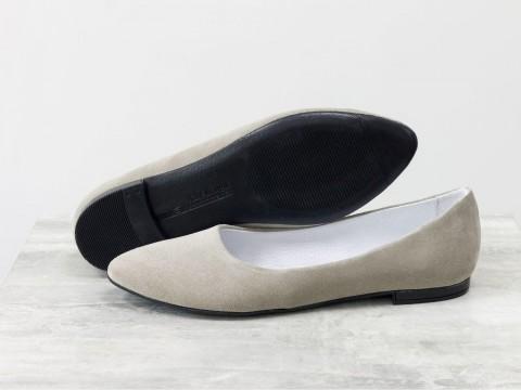 Женские бежевые балетки из замши на облегченной подошве, Т-413-44