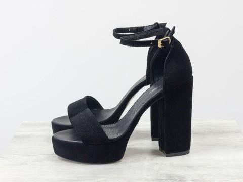 Черные босоножки на высоком каблуке из замши, С-17053-04