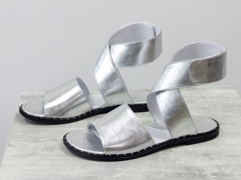 Женские серебряные босоножки из кожи на низком ходу, С-608-14