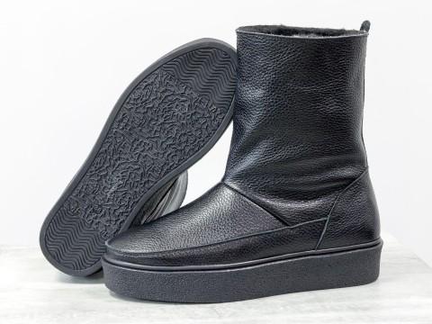 Зимние высокие ботинки из натуральной черной кожи флотар на утолщенной подошве