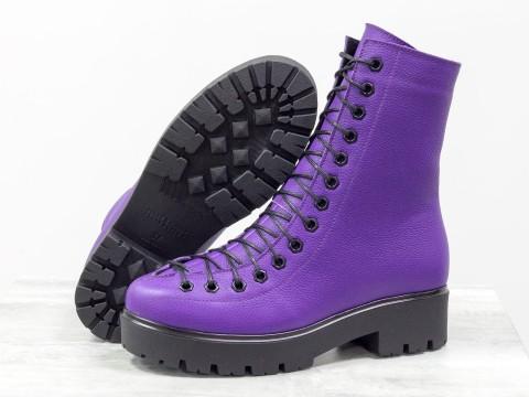 Женские ботинки на шнуровке из натуральной кожи, Б-17459-02