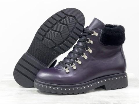Женские фиолетовые ботинки на шнуровке, Б-1817-01