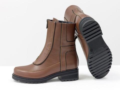 Высокие дизайнерские ботинки из натуральной кожи
