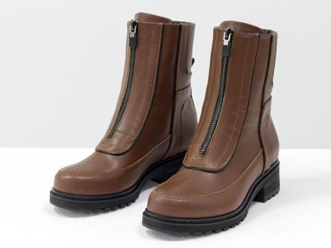 Высокие коричневые ботинки из натуральной кожи