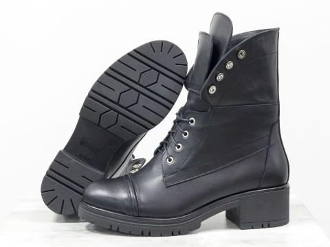 Дизайнерские ботинки берцы черного цвета на маленьком каблуке