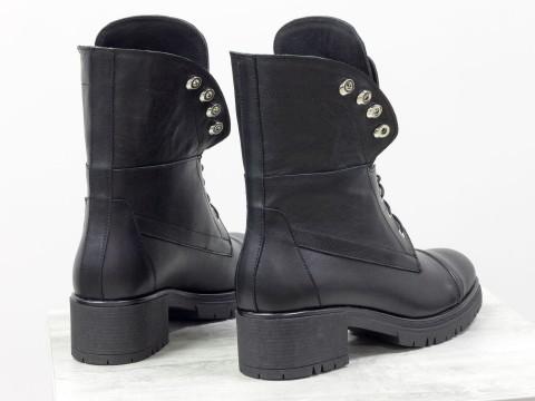 Дизайнерские ботинки берцы из натуральной кожи черного цвета